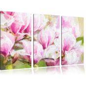 Home Loft Concept,Delicate Pink Flowers 3 Piece Graphic Art Print Set on Canvas (13254/6 -