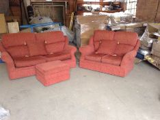 RED FABRIC 3 SEATER & 2 SEATER & FOOT STOOL (RETUR