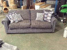 BLUE PATTERNED 3 SEATER SOFA (RETUNR, WORN) TR0021