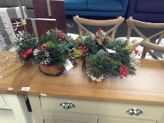 The Seasonal Aisle,Wintry Hanging Pine Plant in Basket RRP -£28.99 (HL8 - 14/24 -BF940711) X 2