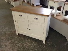 Chester White Painted Oak 2 Door Medium Sideboard (J38 -NC-STS-W)