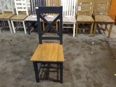 1 X Chester Painted Oak Slat Back Dining Chair With Wooden Seat (CH-M48 -NC-CH-W)
