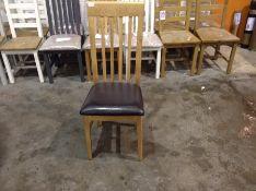 1 X Bergen Oak Rail Back Chair Faux Leather Seat (