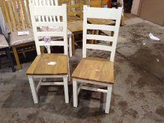 2 X Chester White Painted Oak Slat Back Dining Cha