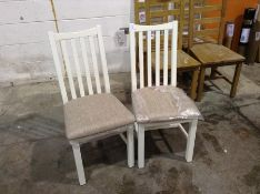 2 X Gloucester White Painted Oak Dining Chair Fabr