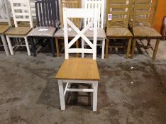 1 X Hampshire Ivory Painted Oak Cross Back Chair (