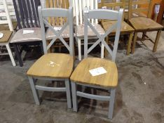 2 X Suffolk Grey Painted Oak Crossback Chair With