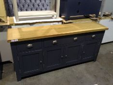 Hampshire Blue Painted Oak Extra Large 4 Door Side