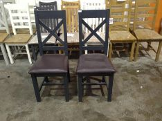 2 X Hampshire Grey Painted Oak Dining Chair PU Sea