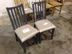2 X Gloucester Blue Painted Oak Chair Fabric Seat