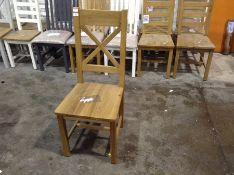1 x Winchester Oak Cross Back Chair With Wooden Se