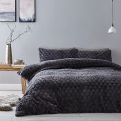 Catherine Lansfield, Soft Touch Diamond Fur Duvet Cover Set (SUPERKING / GREY) - RRP £49.99 (