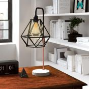 Zipcode Design, Chereen 51cm Arched Table Lamp (BLACK/COPPER WITH WHITE BASE) - RRP £54.99 (