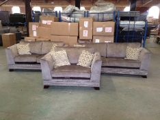 BROWN SADDLE 4 SEATER, 2 SEATER & SNUG CHAIR HH29-