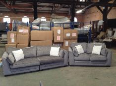 GREY FABRIC SPLIT 4 SEATER AND FIXED 2 SEATER SOFA