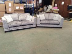 GREY SADDLE 3 SEATER, 2 SEATER (ONE SOFA WITH STUD