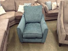 GREEN FABRIC SWIVELLING ACCENT CHAIR (DAMAGE) WM31