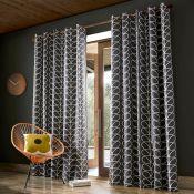 Orla Kiely, Linear Stem Eyelet Room Darkening Curtains CHARCOAL / 229CM X 183CM) - RRP £85 (