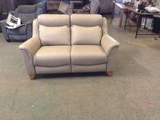 CREAM LEATHER HIGH BACK 2 SEATER TR002149 W0084634
