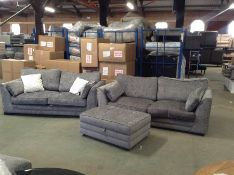 GREY FABRIC 2 X 3 SEATER SOFAS AND FOOTSTOOL (DAM