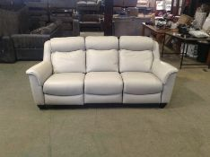 GREY LEATHER ELECTRIC RECLINING 3 SEATER (FAULT ON