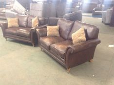 X2 BROWN LEATHER 2 SEATER SOFAS (LEATHER COMING OF