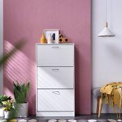 Rebrilliant, Burlison 20 Pair Shoe Storage Cabinet| WHITE | POTENTIAL SCREWS MISSING | - RRP £59.