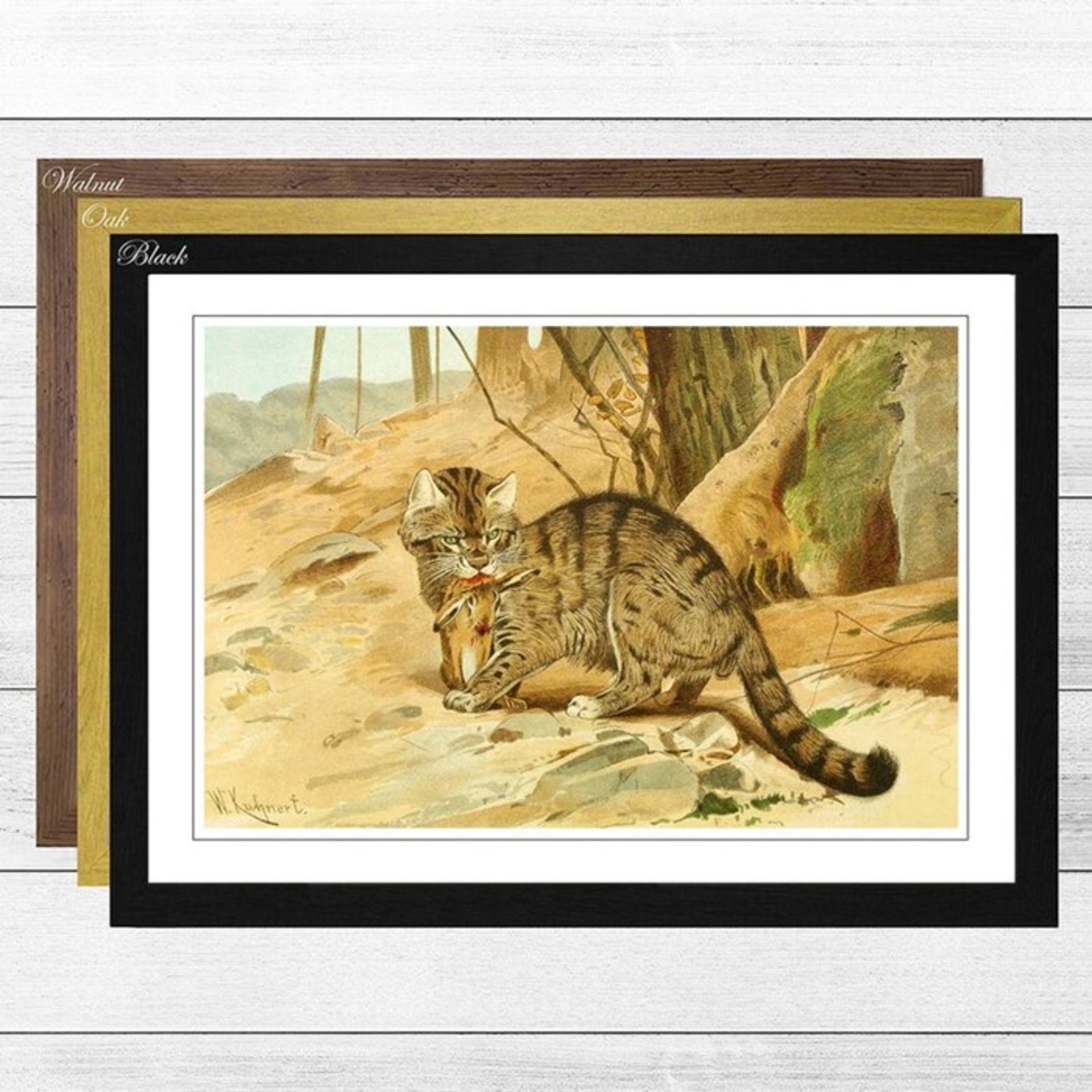 East Urban Home, Vintage Wild Cat (2)' by Wilhelm Kuhnert Framed Painting Print (BLACK FRAME) -