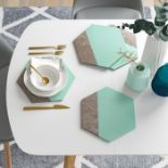 17 Stories, Hexagonal Leather Effect Placemat (JADE/SILVER) X4 - RRP £22.99 (CCOP2031 - 21629/4) 4G