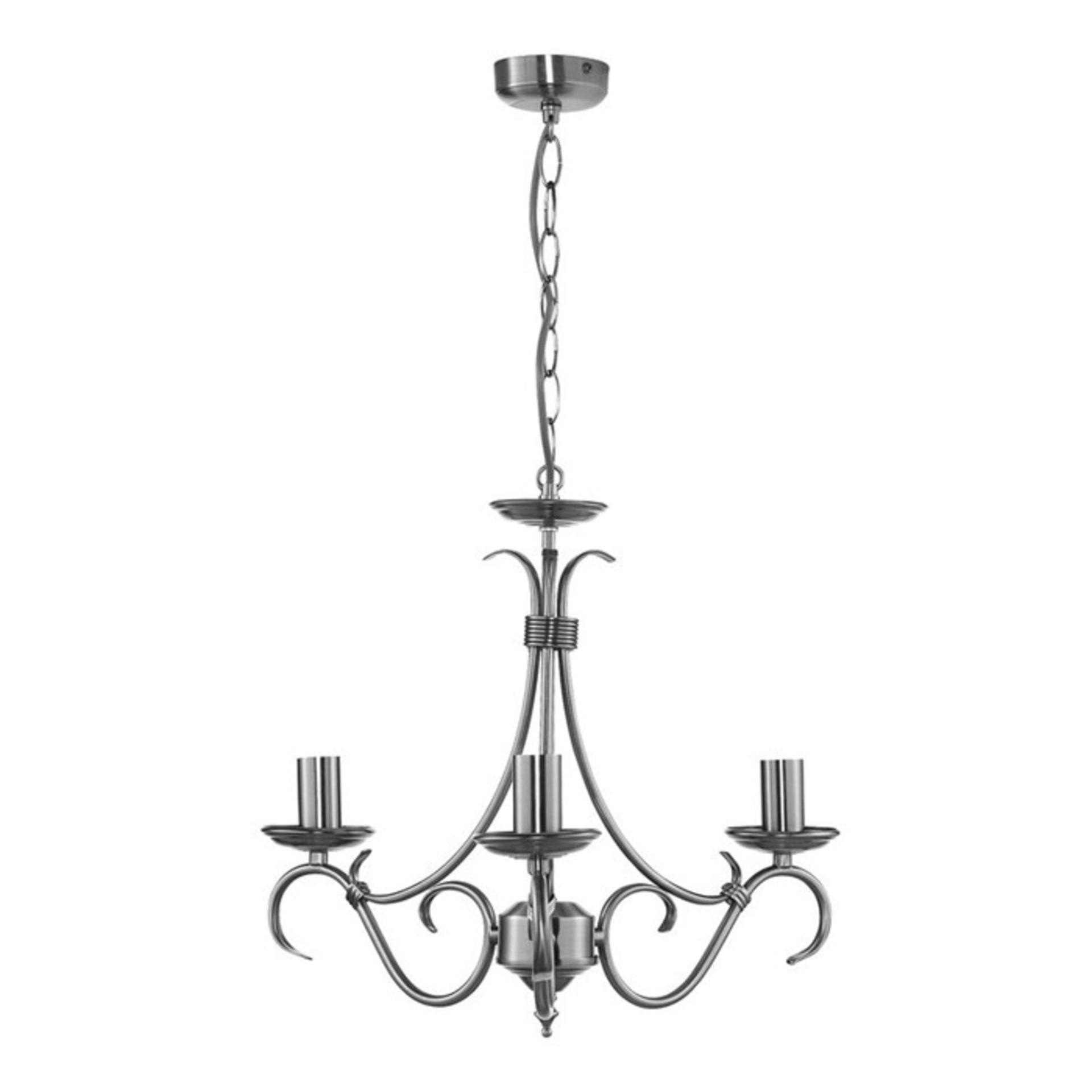 Endon Lighting, Bernice 3-Light Candle Style Chandelier (ANTIQUE BRASS) - RRP £52.99 (UEL1478 -