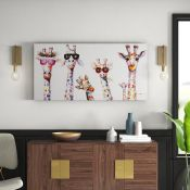 Mack + Milo, Curious Giraffe Family Acrylic Painting Print on Canvas - RRP£193.99 (FINT2612 -