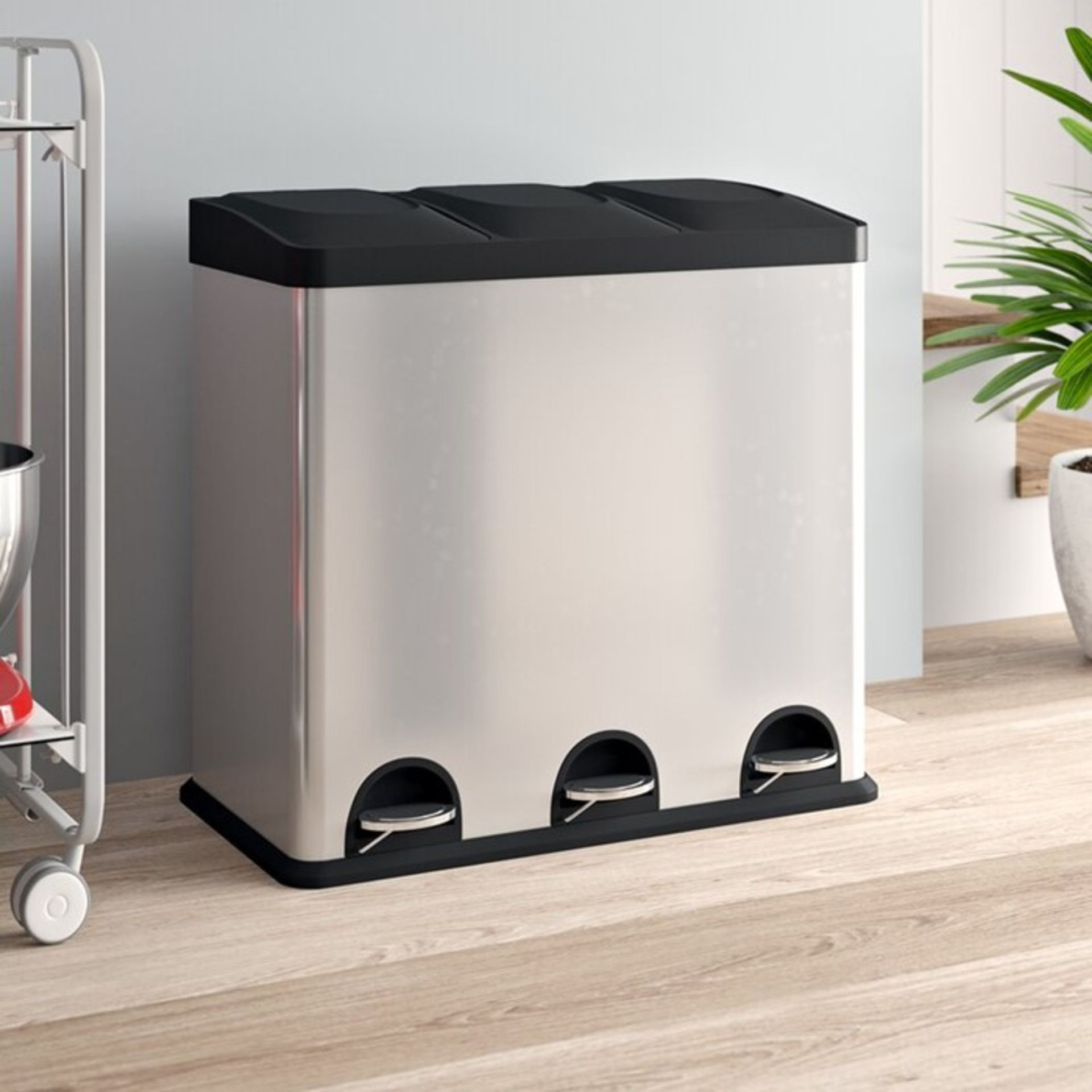 Symple Stuff, Kitchen Stainless Steel 54 Litre Step On Multi-Compartments Rubbish and Recycle