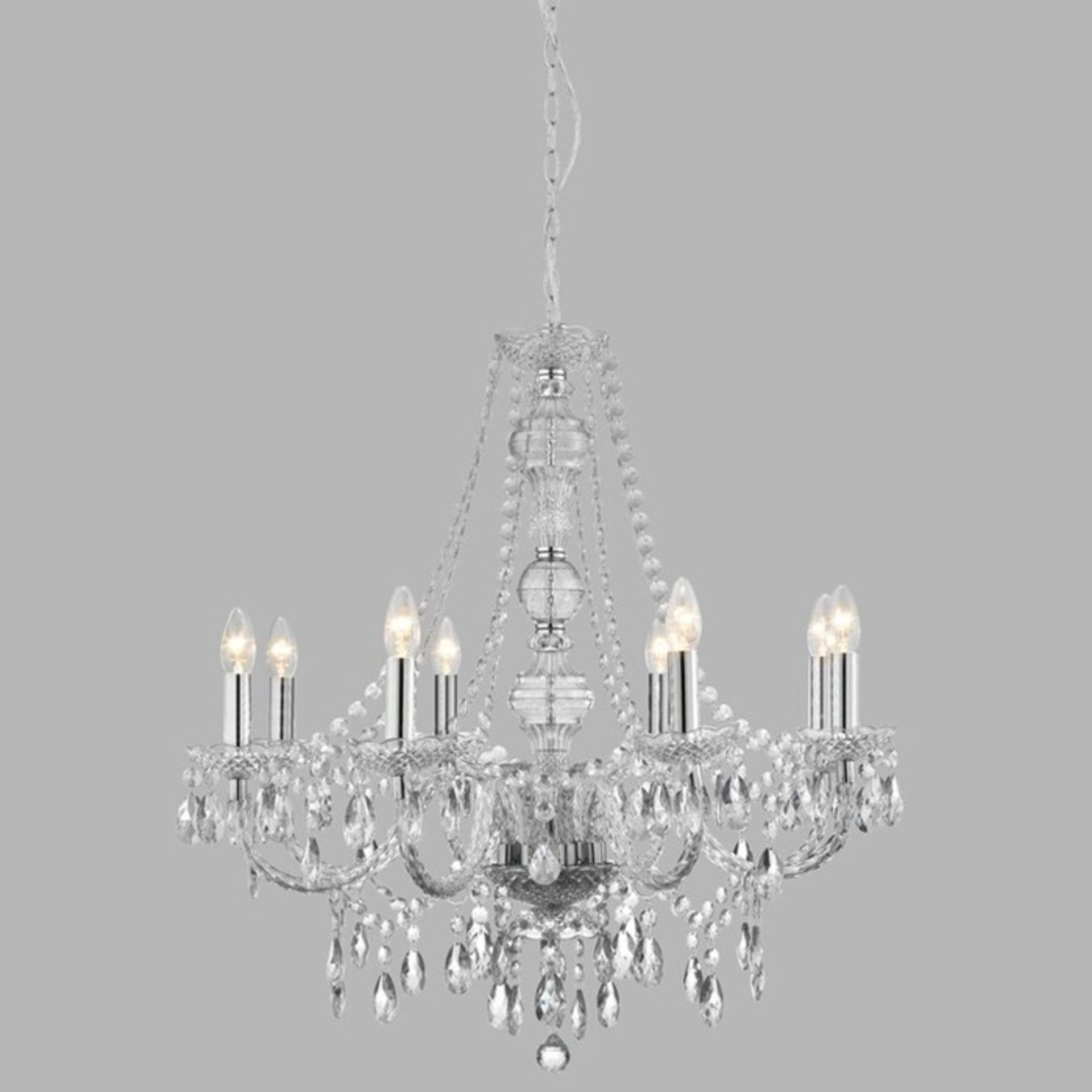 Fairmont Park, Moonstone 8-Light Candle-Style Chandelier (SMALL CRACK) - RRP £159.99 (HOHA1663 -