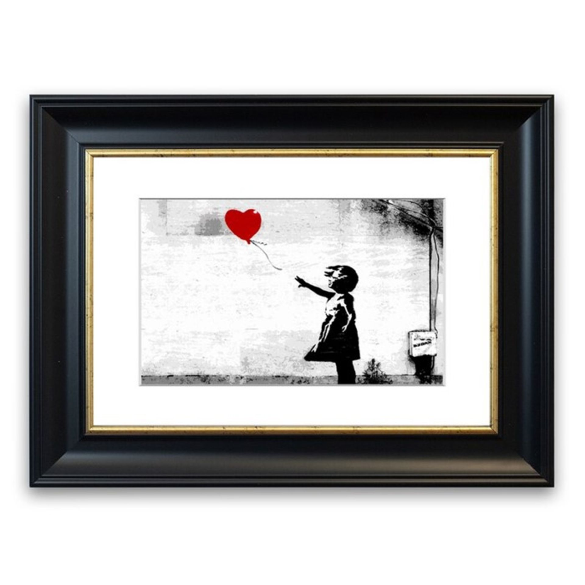 East Urban Home, Balloon Girl Love Heart Cornwall Banksy' Framed Photographic Print (93X126CM)(