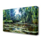 East Urban Home, 'Water Lillies in Monets Garden' by Claude Monet Painting Print on Wrapped Canvas -