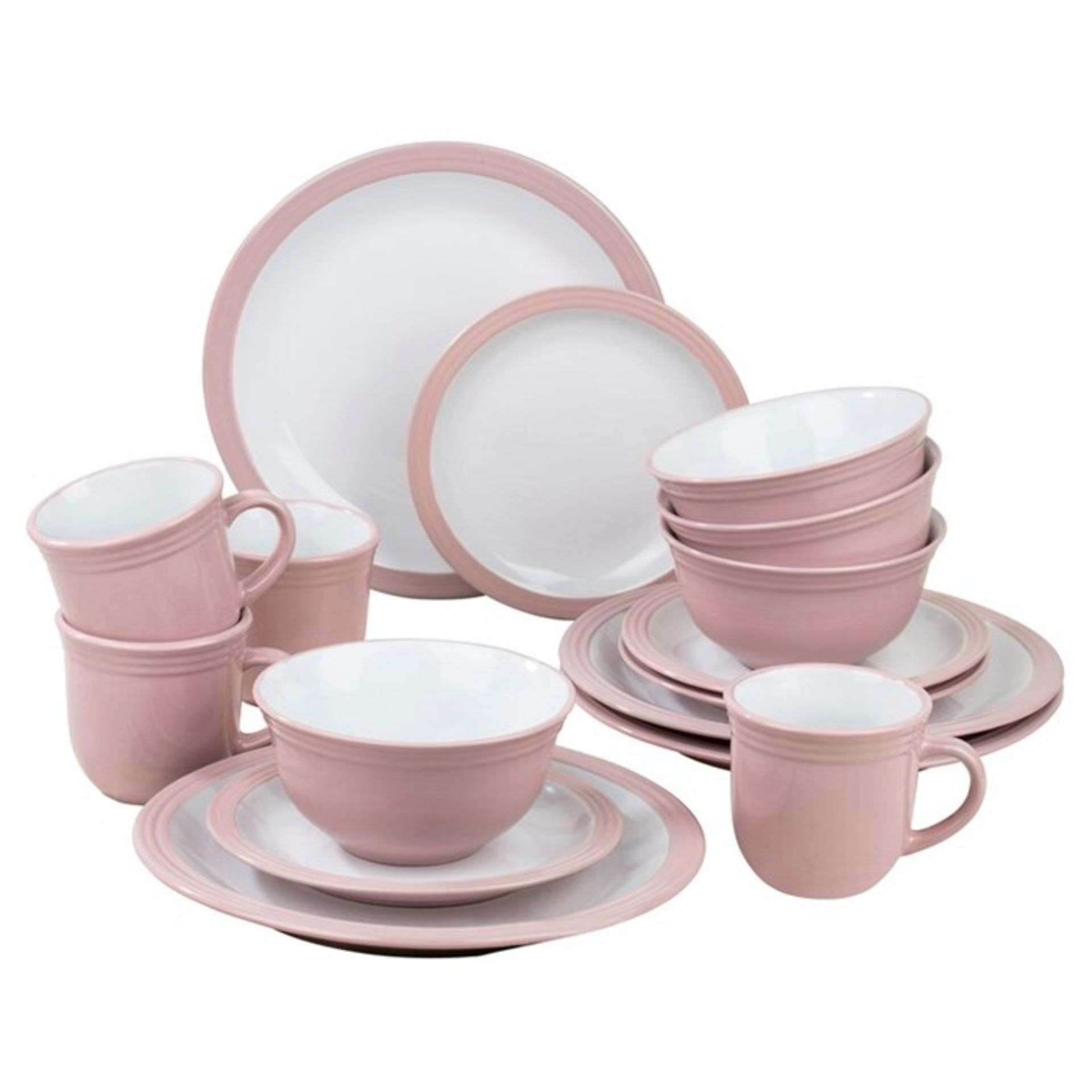 Three Posts, Helene 16 Piece Dinnerware Set, Service for 4 (PINK & WHITE) - RRP£33.99 (HJE10000 -