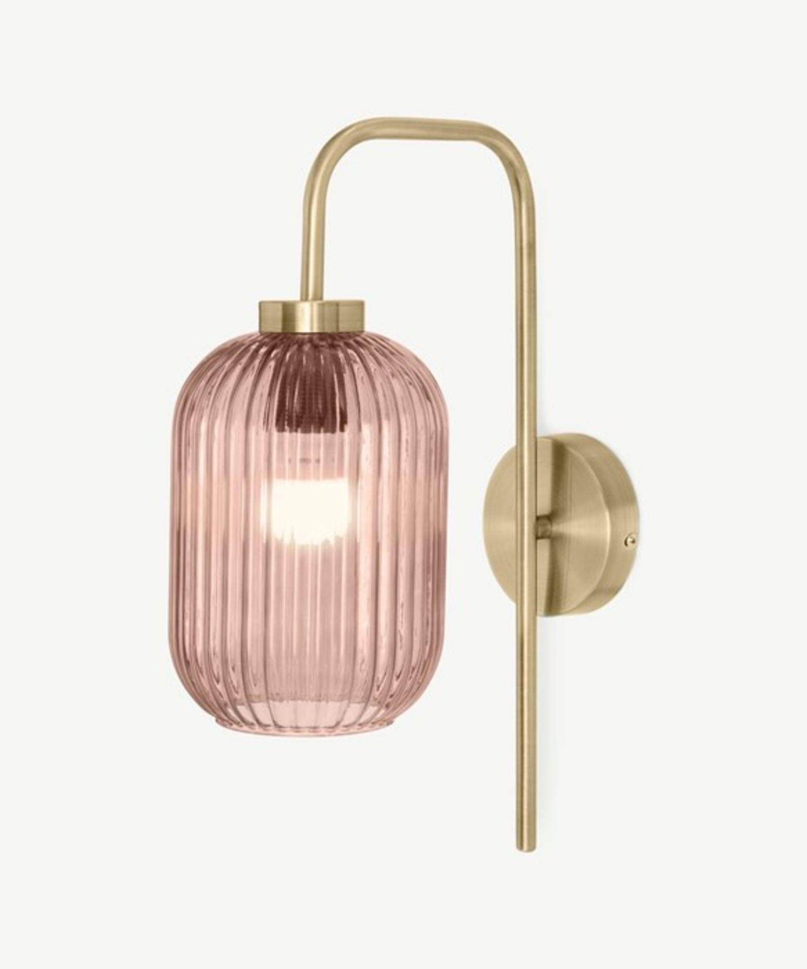 | 1x|Made.com Briz Wall Lamp Antique Brass & Pink RRP £59MAD-WLPBRI004PNK-UK (1j0437/23) 5F