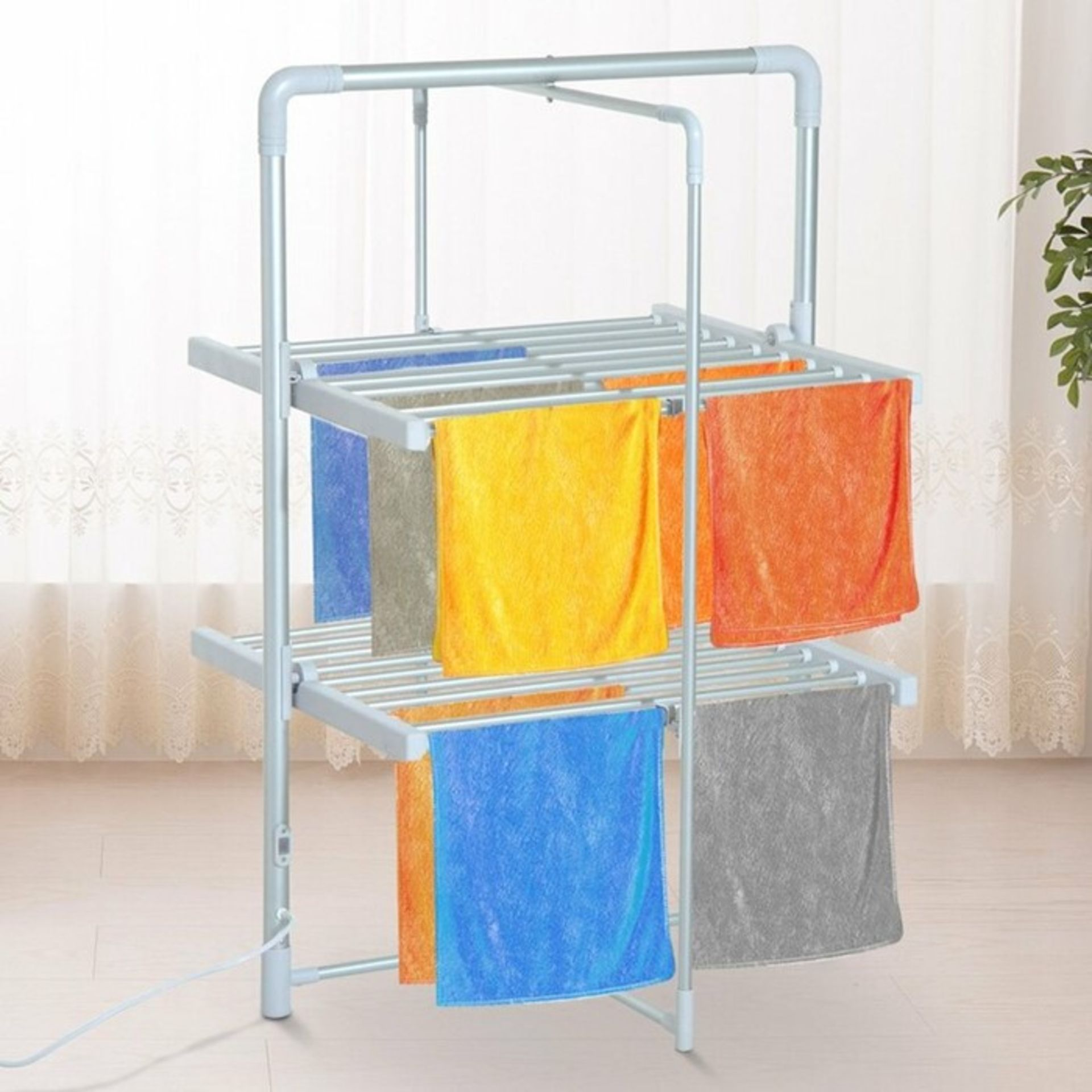 Symple Stuff, Electric 2 Tier Quick Dry Folding Drying Rack - RRP£65.99 (HMCM1932 - 21458/20) 1J