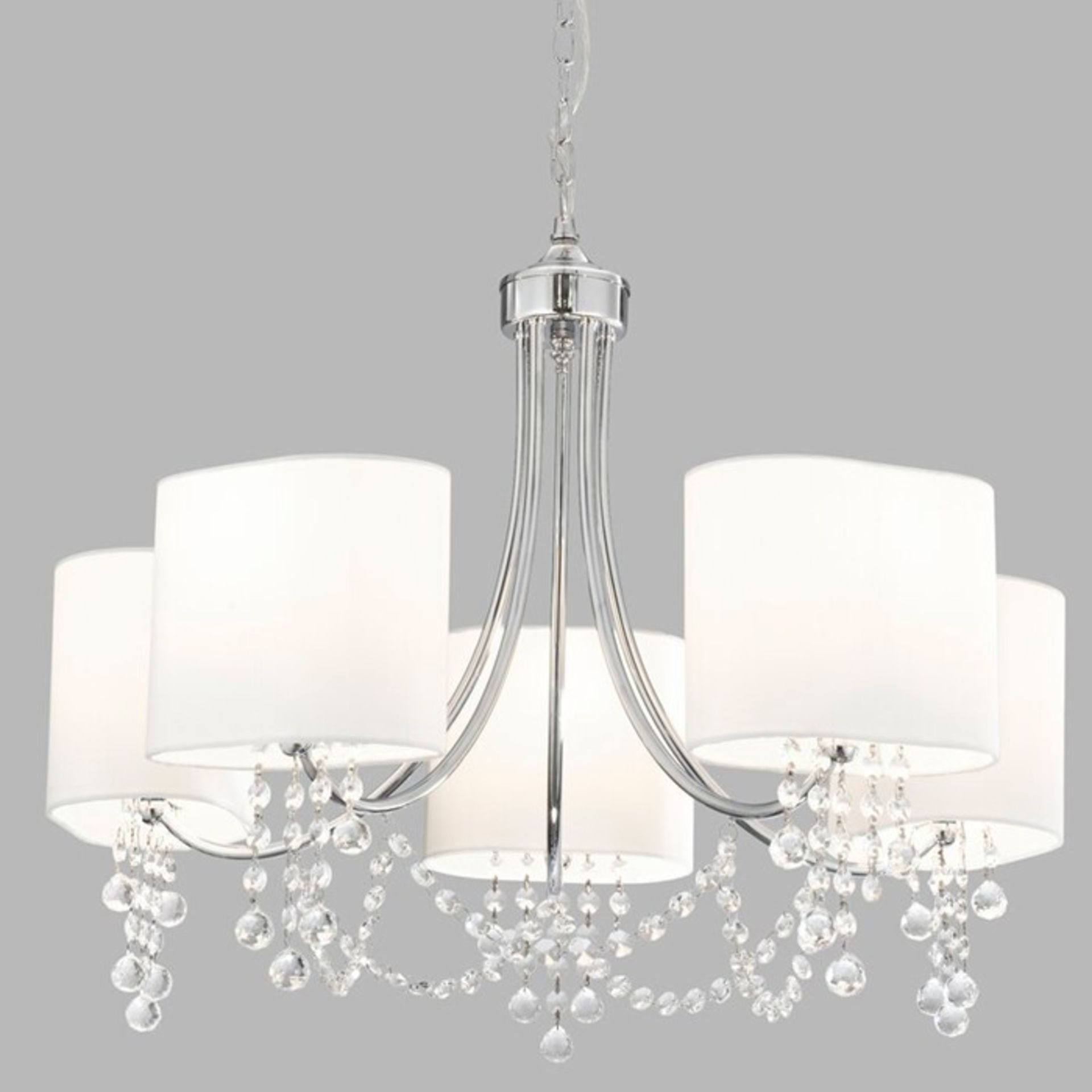Willa Arlo Interiors, 5-Light Shaded Chandelier (POLISHED CHROME WITH WHITE SHADES) - RRP£121.99 (