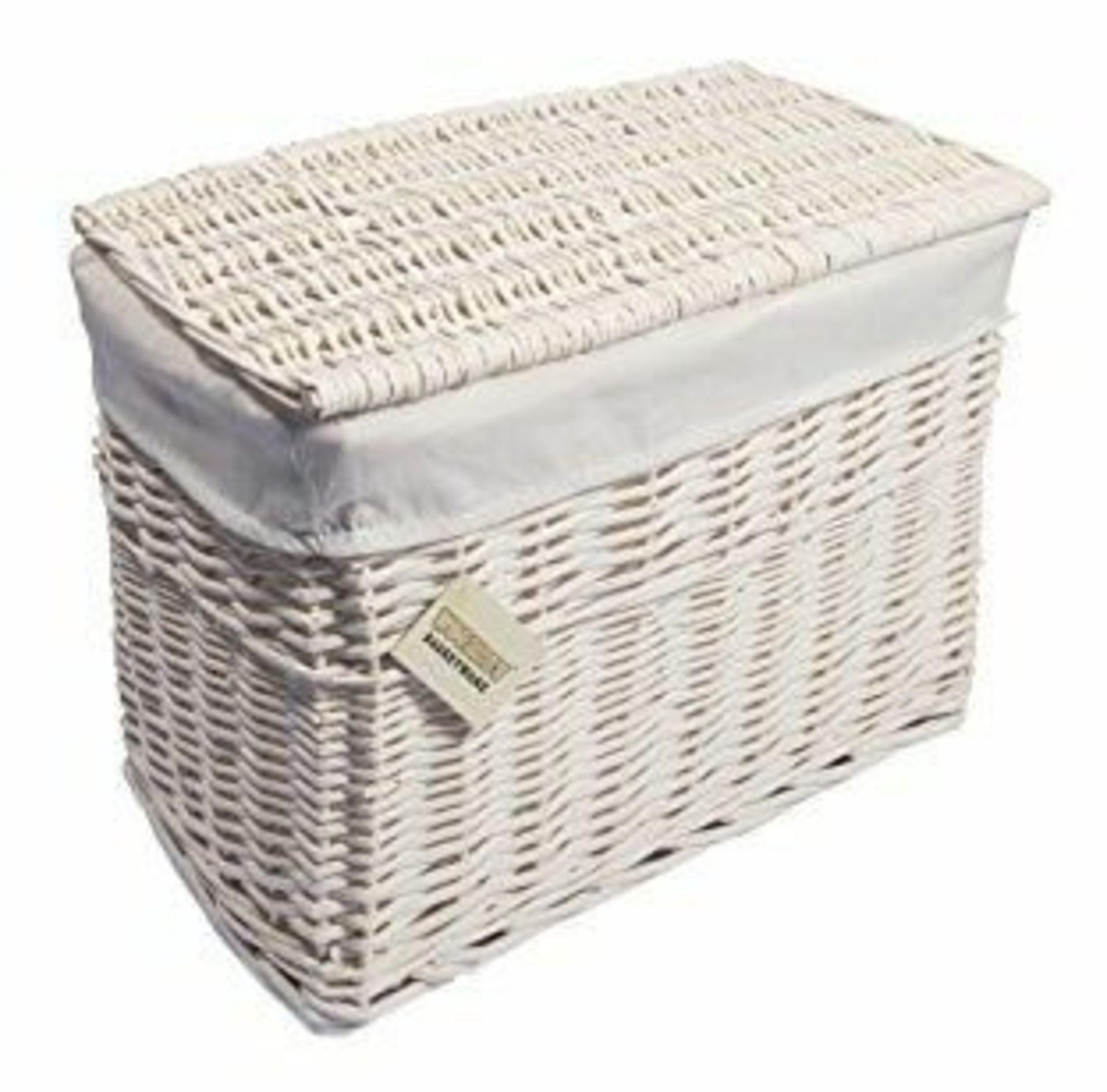 Beachcrest Home, Wicker Hamper Basket (WHITE) - RRP£45.99 (WDLV1163 - 22262/16) 1J