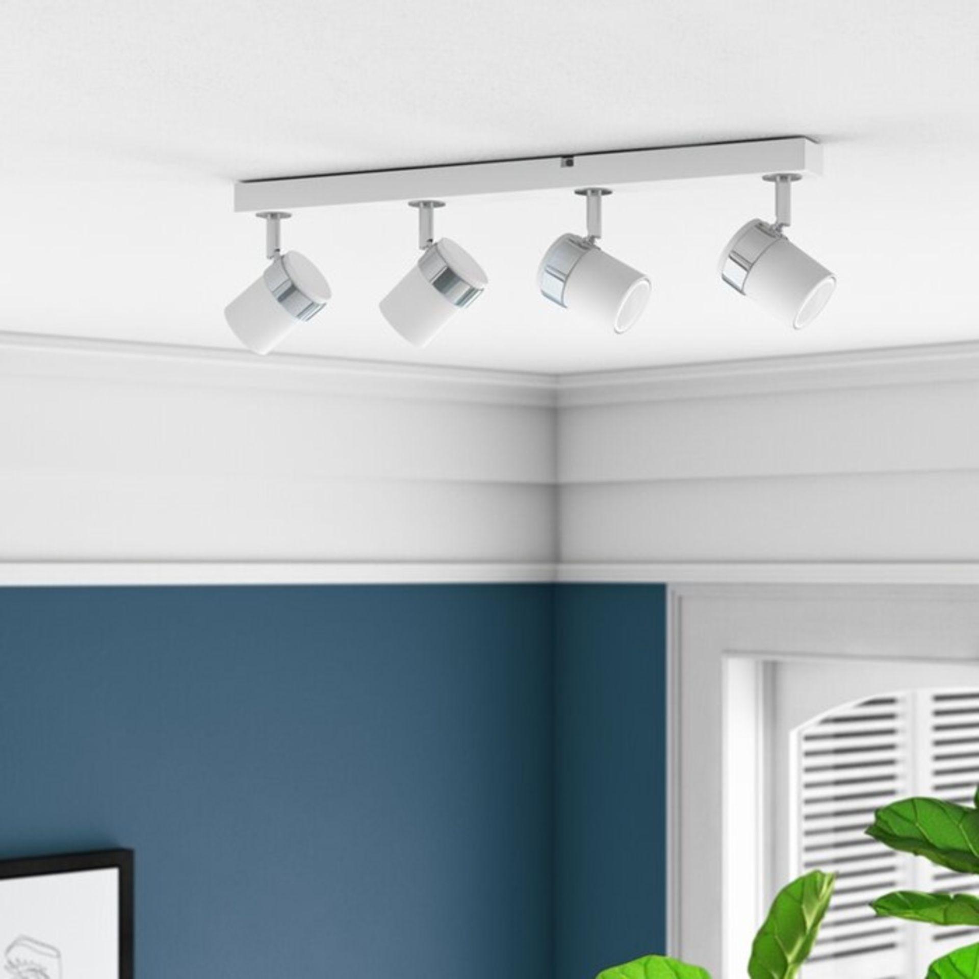 MiniSun, Rosie 4-Light Ceiling Spotlight (WHITE / 3 BULBS INCLUDED - MISSING ONE BULB) - RRP £35.