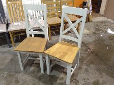 2 X Hampshire Grey Painted Oak Cross Back Dining C