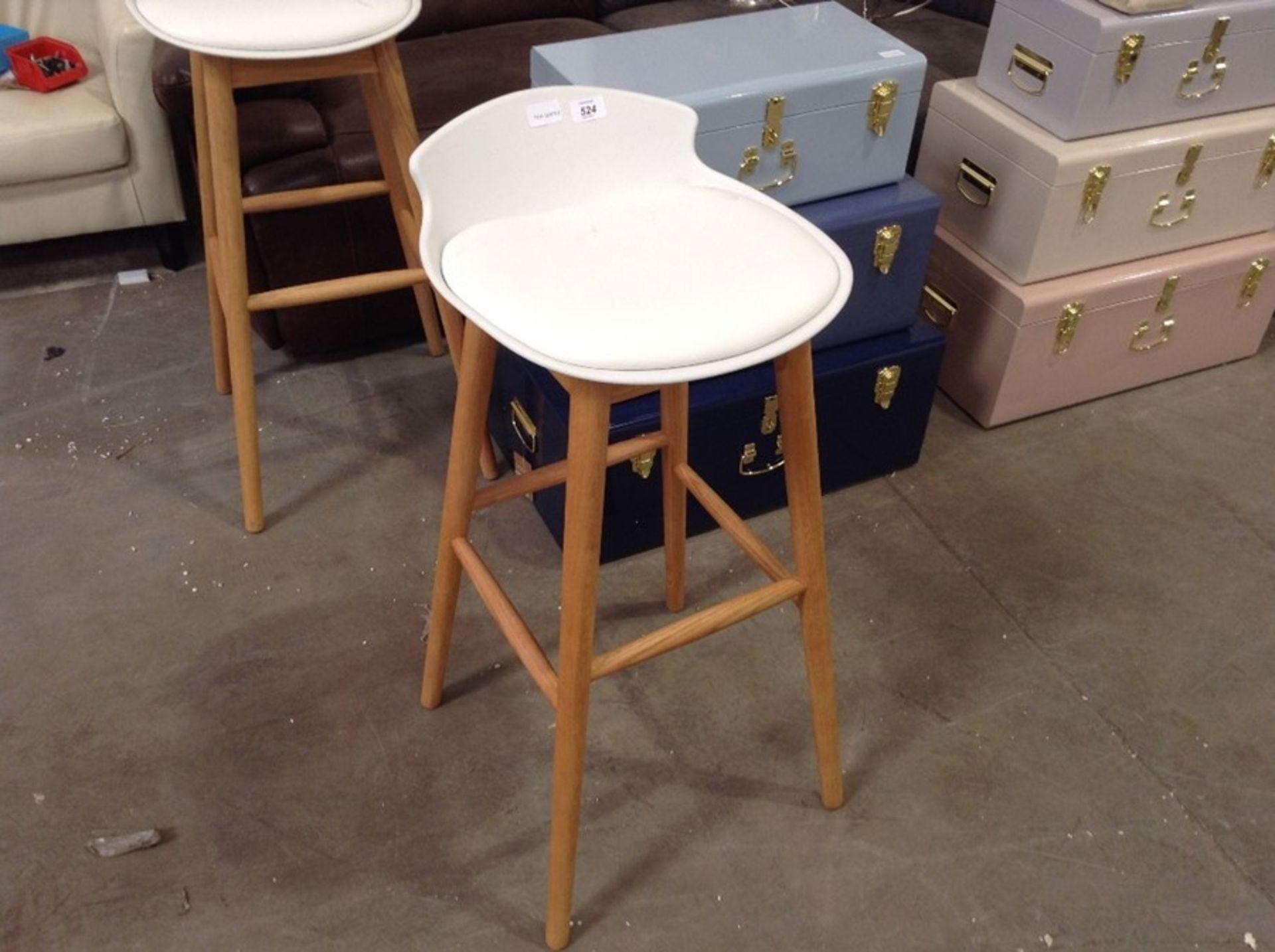 |1X|Made.com Thelma Barstool Oak and White RRP £99|1j0471/2 -BARTHM004WHI-UK|