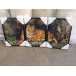 |1X|Made.com Natural History Museum, 'Vintage Tiger' Set of 3 Framed Prints, A2 RRP £199|1j0380/
