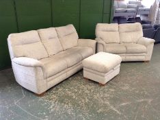 NATURAL PATTERNED HIGH BACK 3 SEATER, 2 SEATER & S