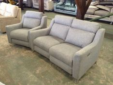 GREY FABRIC ELECTRIC RECLINING 3 SEATER & FIXED CH