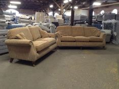 GOLDEN STRIPED 3 SEATER AND 2 SEATER SOFA(TROO2143