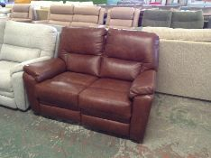 BROWN LEATHER ELECTRIC RECLINING 2 SEATER TR002151