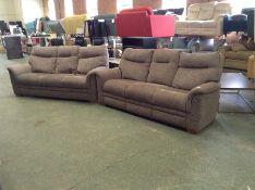 PURPLE PATTERNED X2 3 SEATER HIGH BACK SOFAS TR002