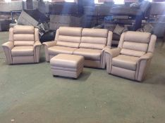 CREAM LEATHER HIGH BACK 3 SEATER, X2 CHAIRS & STOR